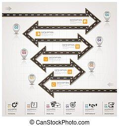 strada, affari firmano, passo, infographic, traffico, freccia, strada