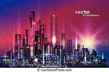 strada, architettura, città, illuminato, orizzonte, notte, illustrazione, megapolis, costruzioni, cityscape, costruzioni, downtown., grattacieli