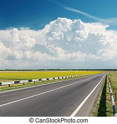 strada asfaltata, va, a, nuvoloso, orizzonte