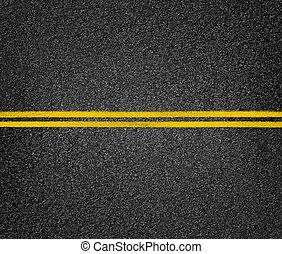 strada, asfalto, cima, giallo, autostrada, vista., marks.