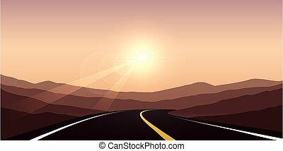 strada, asfalto, paesaggio, deserto, viaggiare