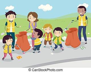 strada, bambini, stickman, pulizia, illustrazione