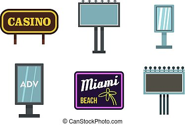 strada, bandiera, icona, set, appartamento, stile