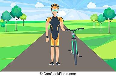strada, bicicletta, presa a terra, illustrazione, uomo