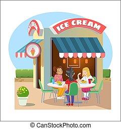 strada, caffè, ghiaccio, cream.