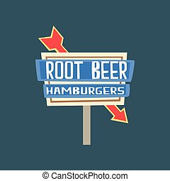 strada, cartello, birra, illustrazione, vettore, retro, vendemmia, radice, bandiera, hamburger