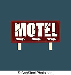 strada, cartello, motel, illustrazione, vettore, retro, vendemmia, bandiera