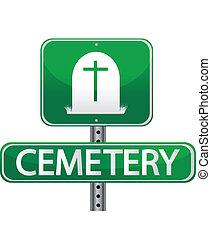 strada, cimitero, segno