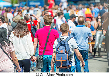 strada città, folla, persone