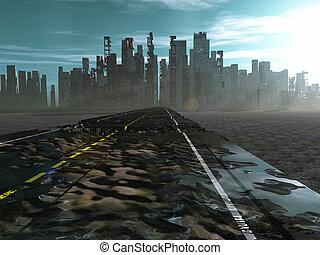 strada città, morto