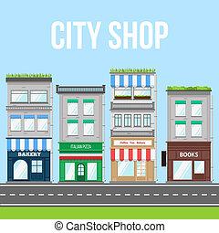 strada città, negozio, affari, pizza, vettore, bakery., piccolo, caffè, illustration.