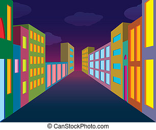 strada città, notte