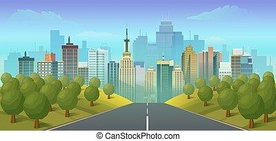 strada città, paesaggio