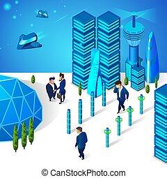 strada città, spostamento, uomini affari, futuristico