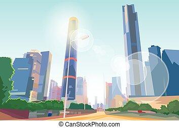 strada città, vettore, grattacielo, cityscape, vista