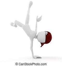 strada, compiendo, un po', 3d, ballerino, uomo, movimenti, ...