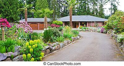 strada, con, casa mattone, e, primavera, paesaggio.