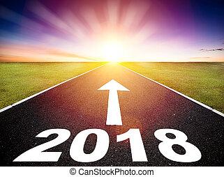 strada, concetto, guida, 2018, anno, nuovo, vuoto, felice
