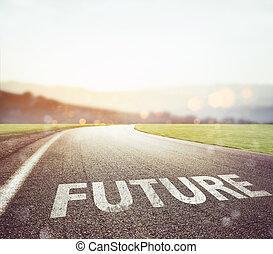 strada, condurre, a, futuro