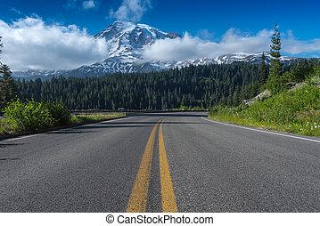 strada, condurre, verso, montare più piovoso