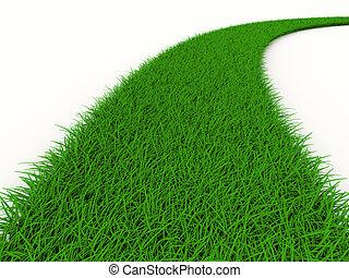 strada, da, erba, su, white., isolato, 3d, immagine