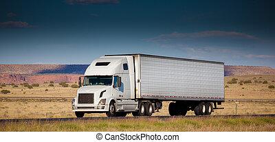 strada, deserto, semi-camion