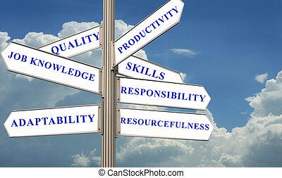 strada, direzione, con, valutazione, concetto