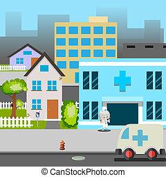 strada, dottore, automobile, ospedale, illustrazione, vettore, ambulanza, cartone animato