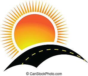 strada, e, sole, logotipo, disegno