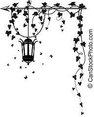 strada, edera, lampada, bordo