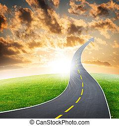 strada, freccia, andare, autostrada
