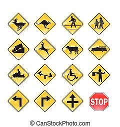 strada, giallo, segni