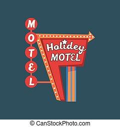 strada, holidey, cartello, motel, illustrazione, luci, vettore, retro, vendemmia, bandiera