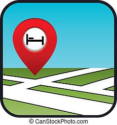 strada, icona, puntatore, hotel., mappa