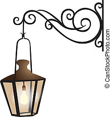 strada, illustrazione, lanterna