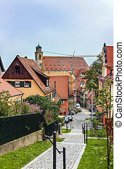 strada, in, dinkelsbuhl;, bavaria;, germania