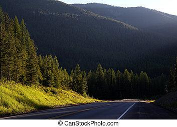 strada, in, ghiacciaio parco nazionale