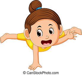 strada, intensively, allenamento, su, ballerino, ragazza, ...