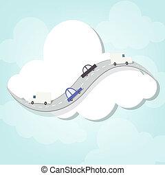 strada, intorno, nuvola