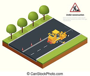 strada, isometrico, asfalto, marcatura, macchina, vernice, spruzzo, costruzione, marciapiede, striping, works., durante, applicatore, termoplastico, autostrada