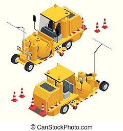 strada, isometrico, pulisce, runway., macchina, spruzzo, speciale, veicolo, durante, termoplastico, construction., marcatura