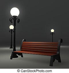 strada, lampione, 3d, o, panca