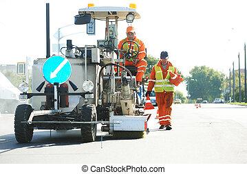 strada, lavorante, tacche, marciapiede, superficie
