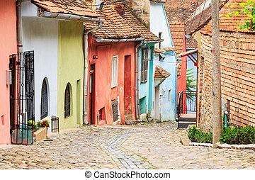 strada, medievale, founded, colonists, sighisoara, saxon, vista