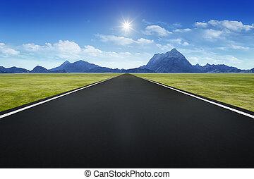 strada, orizzonte, fondo