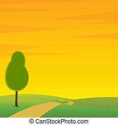 strada, paesaggio, albero