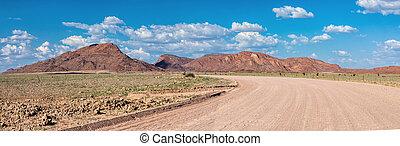 strada, paesaggio, namibia, namib, africa, deserto