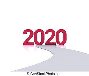 strada che conduce alla scritta 2020 di colore rosso