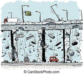 strada pubblica elevata, crollo