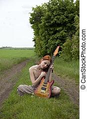 strada, ragazza, chitarra, villaggio